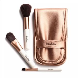 NM Neiman Marcus 3 brush + case rose gold set NIB